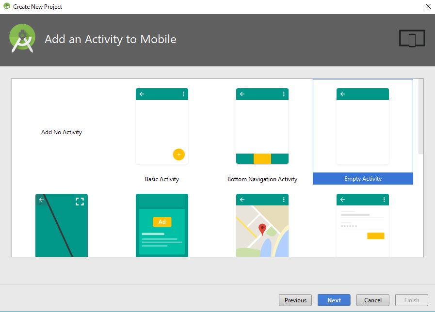 add an activity to mobile in android studio