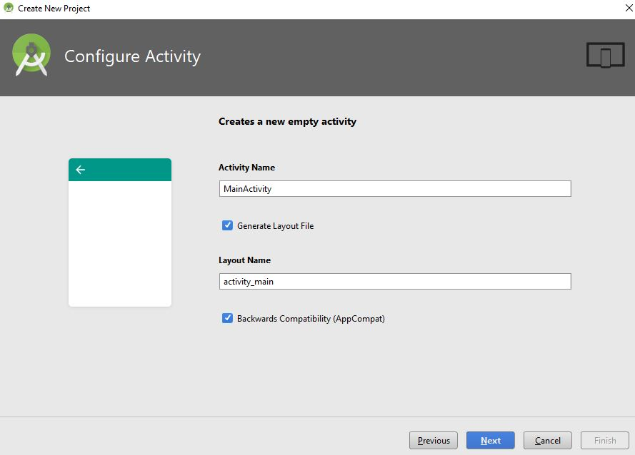 configure activity dialog box in android studio