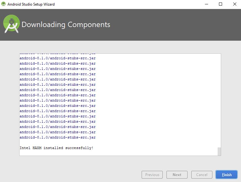 downloading components final screen