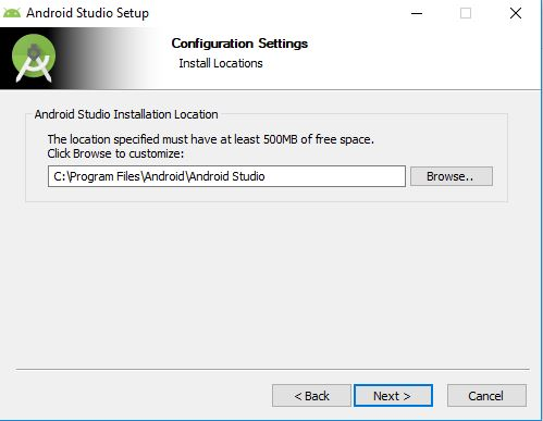 install locations on Android Studio