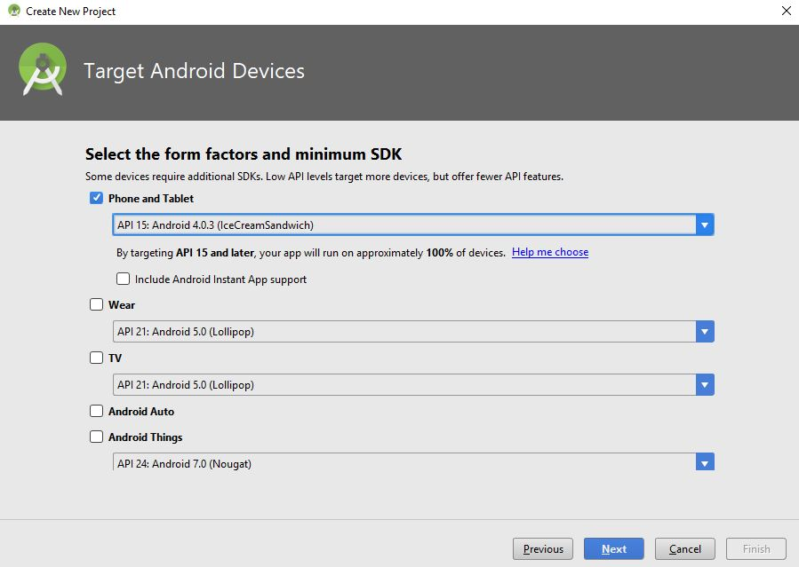 target android devices dialog box