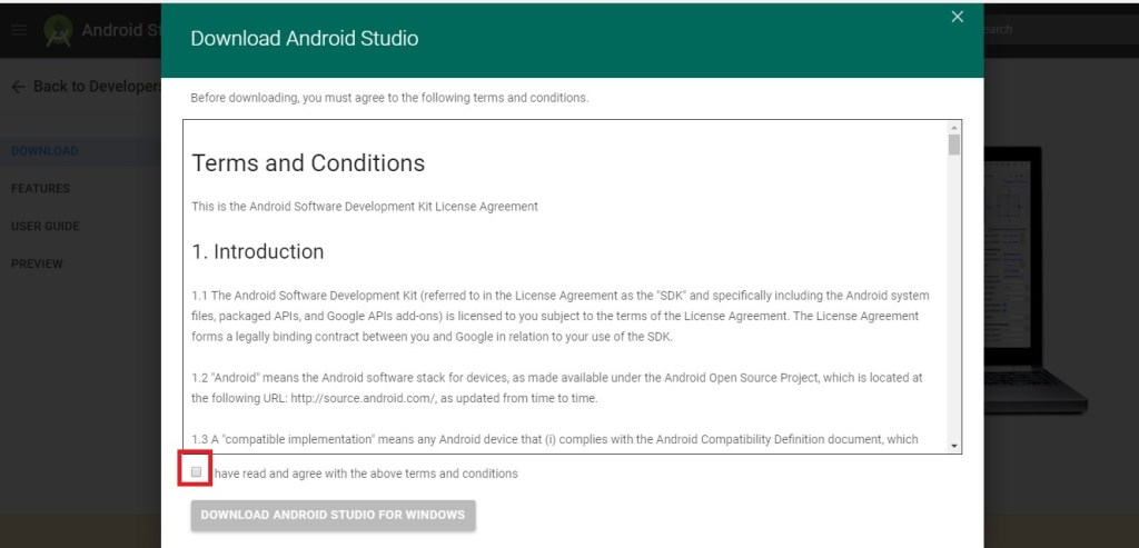 terms and condition screen on android studio