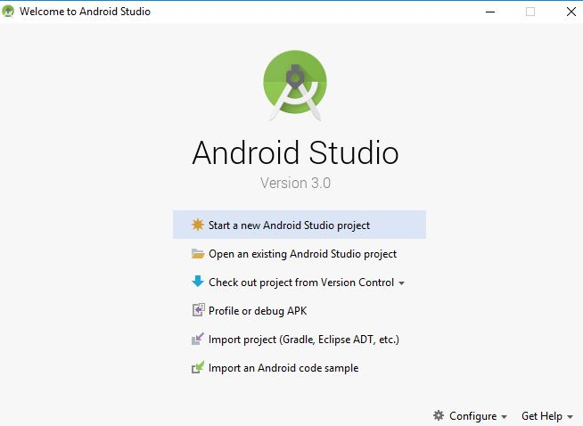 welcome android studio screen