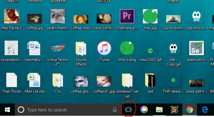 task view button on windows 10 screen