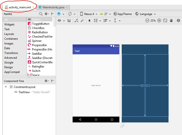 activity_main xml file in android studio