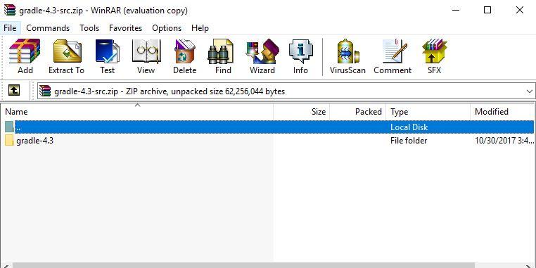 open downloaded gradle zip