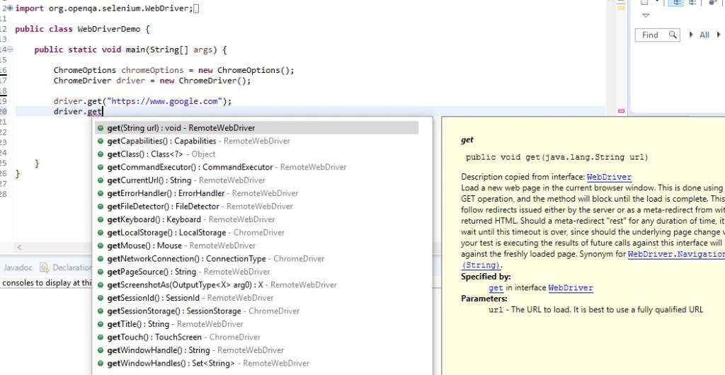 get methods in Selenium Webdriver