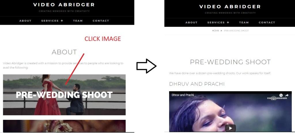 website navigation after clicking on image