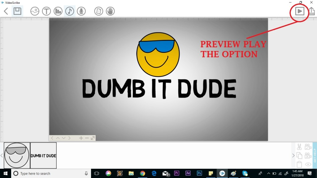 preview play option on the scribe in videoscribe
