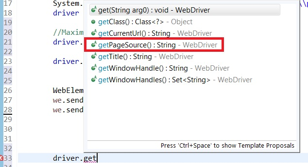 getPageSource method of WebDriver