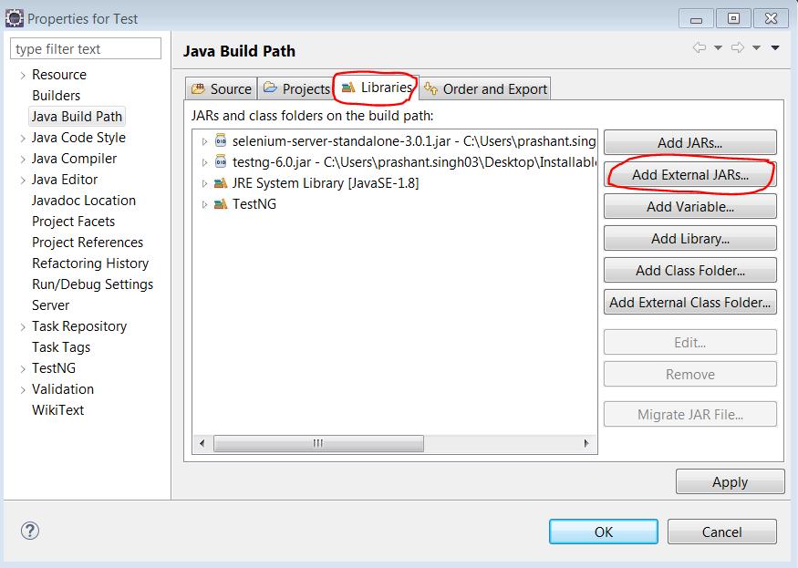 add external jars libraries