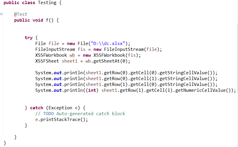 full code to read data from excel in java