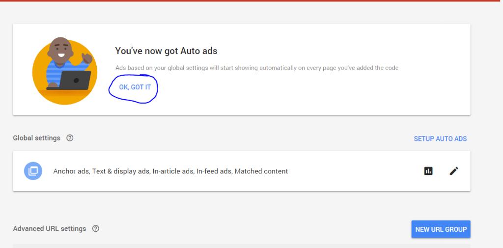 ok got it button auto ads