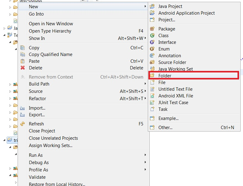 creating a new folder by right clicking project