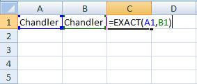 use of exact formula in excel