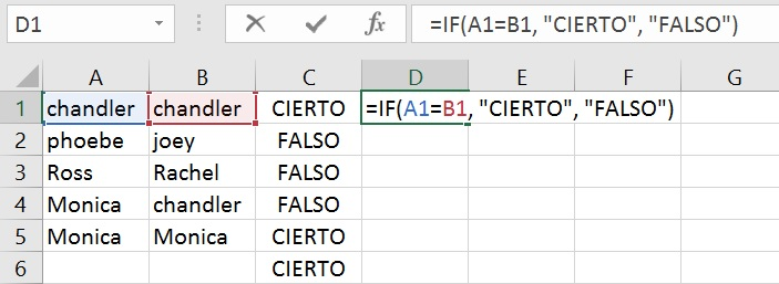 using if condition in excel