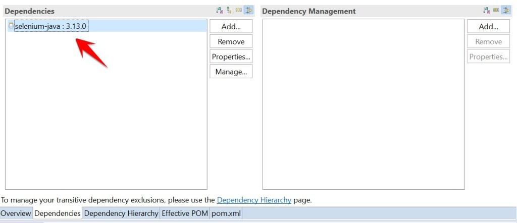 dependencies list