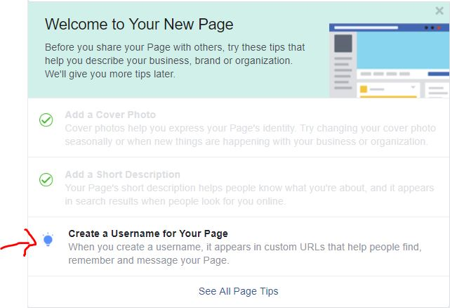 create a username for your page option