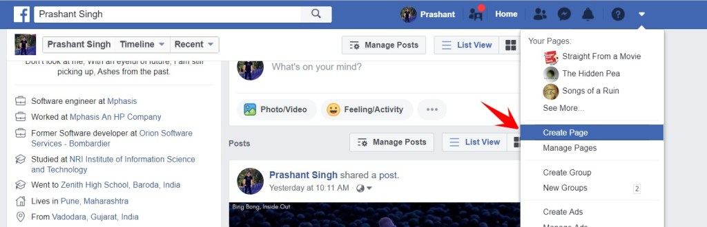 create page option in Facebook