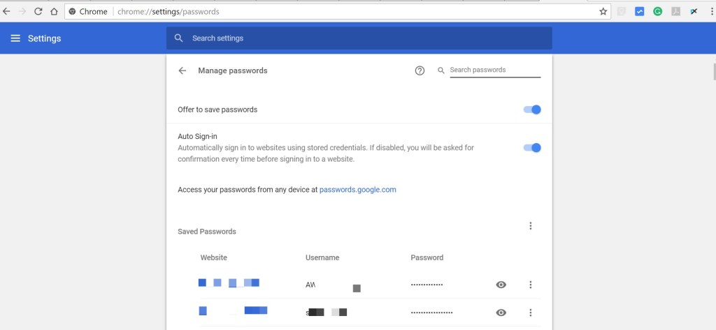 how to check stored passwords in your browser google chrome