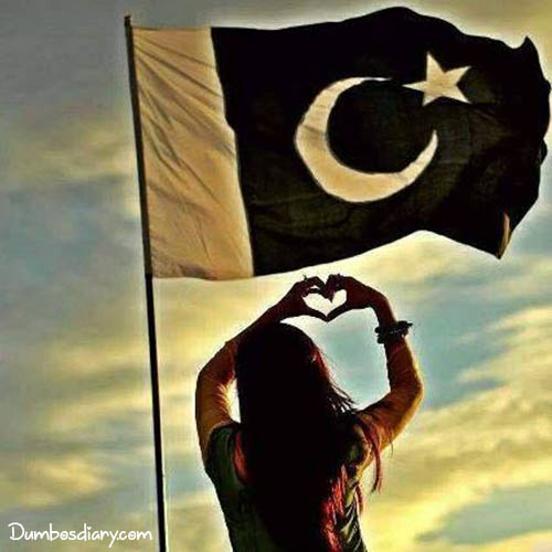 A girl showing love for Pakistani flag
