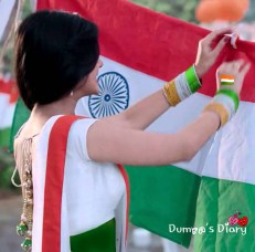 A girl with indian flag