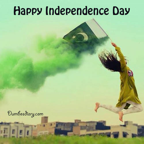 A passionate girl jumping with Pakistani Flag