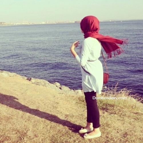 Beautiful muslim girl on beach