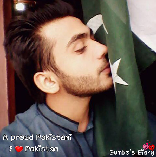 Boy kissing Pakistani flag