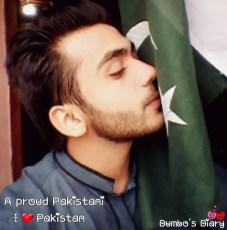 Boy kissing Pakistani flag