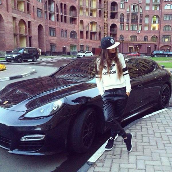 Fashion girl with luxury car