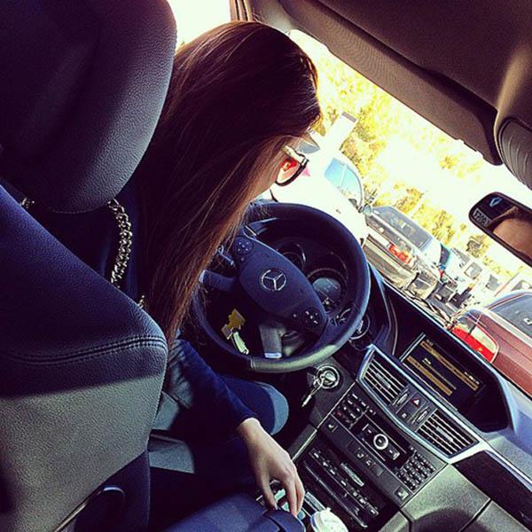 Girl In Car In Heavy Traffic