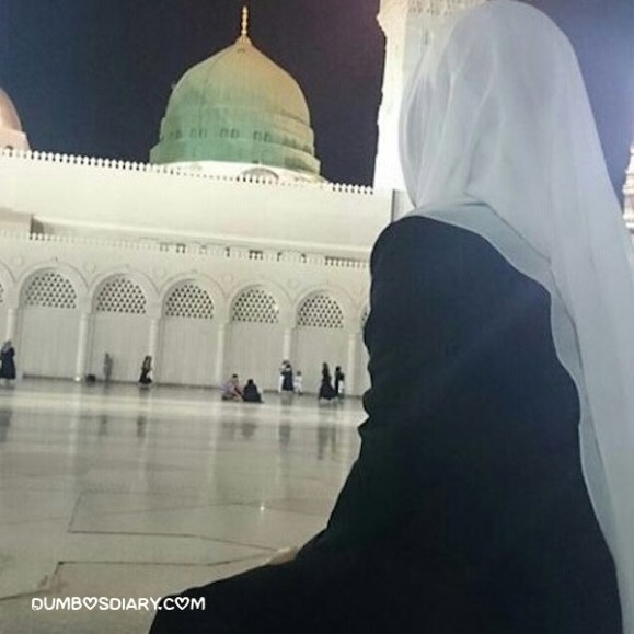 Hidden face hijabi girl in Madina