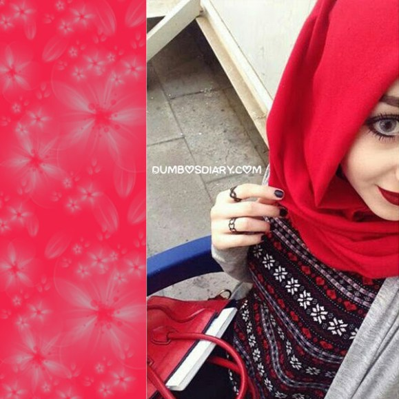 Innocent face pretty hijabi girl in red dress