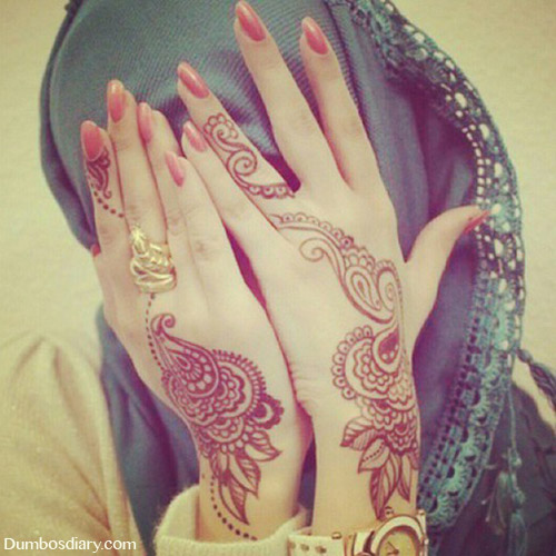 Muslim girl hiding her face