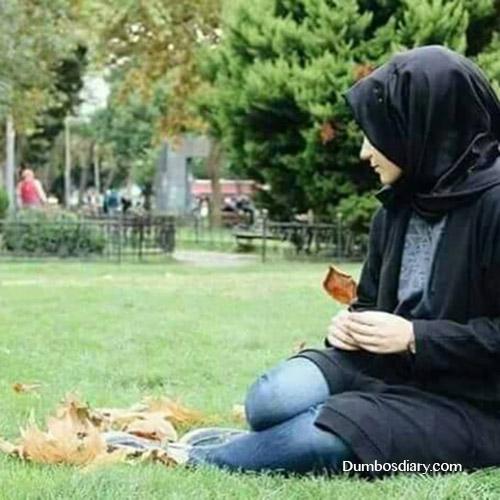 Muslim girl in garden