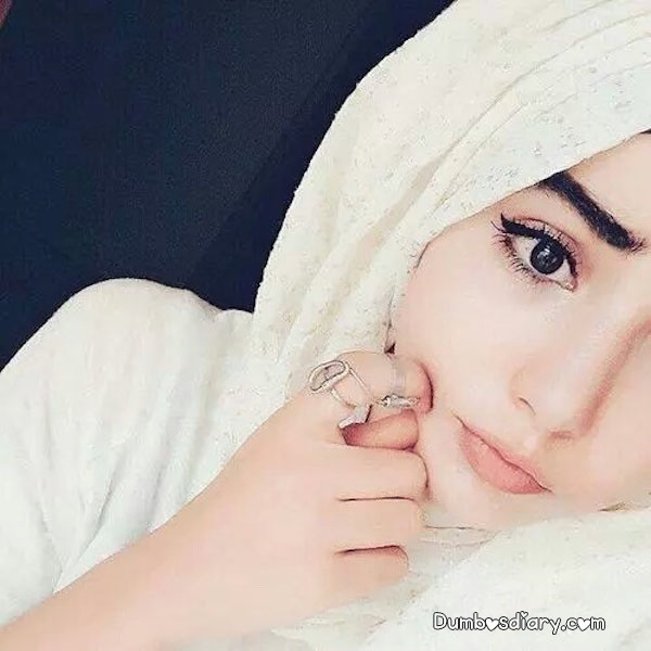 Pretty girl in white hijab