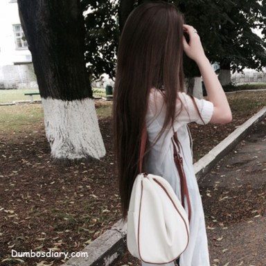 college girl with open hair