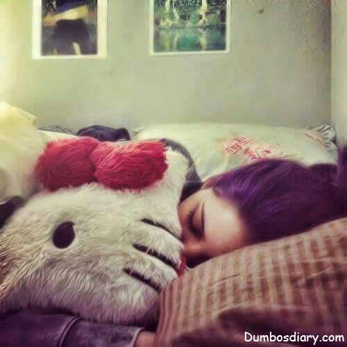 cute girl sleeping with kitty