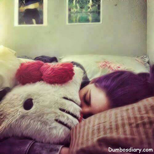 cute girl sleeping with kitty