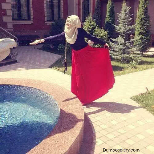 red dress hijabi girl