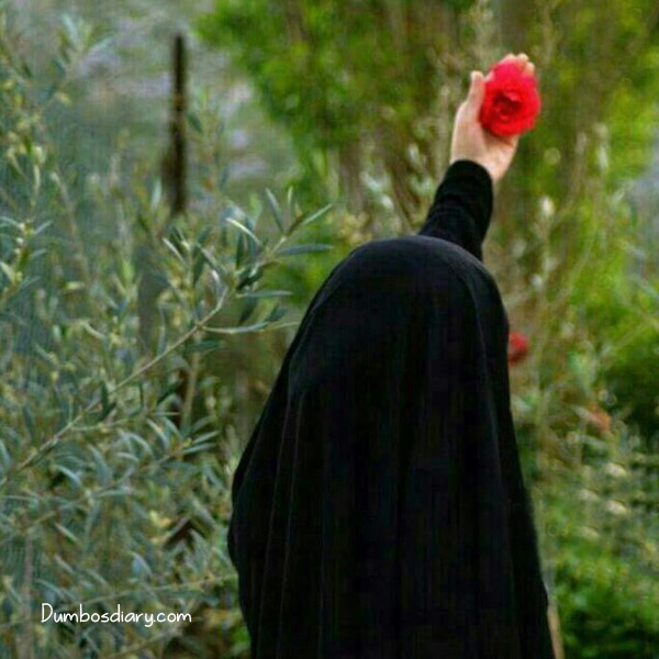 Fake Friends Quotes Wallpaper Girl In Black Hijab With A Rose In Hand