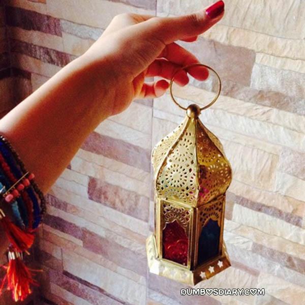 Beautiful Golden Lantern In Girl Hand