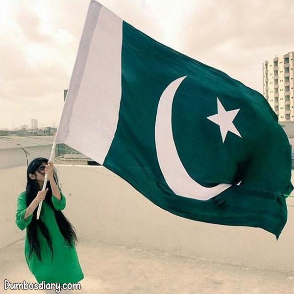 Pakistani girl with Big Flag hidden face