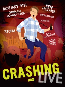 Poster for HBO's show, Crashing, featuring Pete Holmes. Artwork by Comedy Artwork.