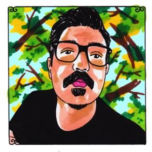 Self portrait illustration by Johnnie Cluney for Daytrotter