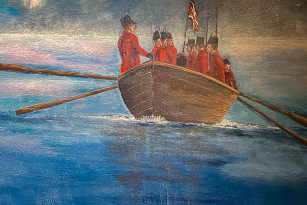 1800s British gunboat painting by Sherry Pringle
