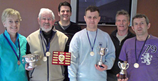 Left to right: Sue Strachan (over-35 runner-up), Davy Rogan (over-70 and 75 champion), Keith Gristwood (over-50 plate runner-up), Jimmy Wells (over-45 champion), Raymond Kirk (over-55 plate runner-up), Robin Ridley (over-50 champion)