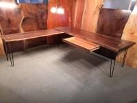 Custom Walnut L-Shaped Desk And Table Combo