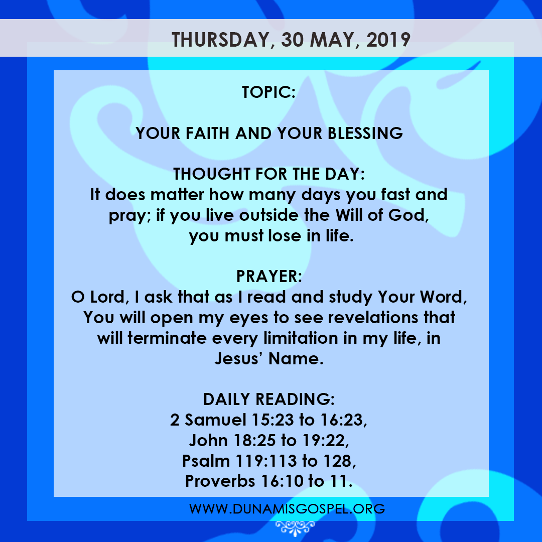 Seeds of Destiny 30 May 2019, Seeds of Destiny 30 May 2019 – Your Faith And Your Blessing